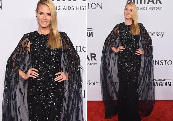 Heidi Klum boszorkányosan festett ebben az áttetsző Zuhair Murad ruhában. A köpeny miatt igazán drámaira sikerült a belépője.