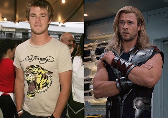 Chris Hemsworth sokáig a szépfiús külseje miatt volt a lányok kedvence, de a Thor főszerepe megkövetelte izomtömegének növelését. Az ausztrál színész hatalmas vállait elnézve igazán megérte a stílusváltás.
