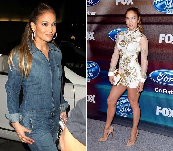 Jennifer Lopezt múlt héten fotózták le talpig farmerban, a 45 éves színész-énekesnő éppen egy laza vacsorára indult. Előtte egy nappal pedig az American Idol fináléját követő rendezvényen jelent meg az aprócska ruhában.