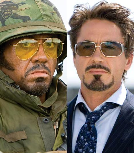 Robert Downey Jr.  Robert Downey Jr. az utóbbi években jobb formában van, mint valaha: amihez hozzányúl, arannyá válik. Elég csak a Vasember-filmeket és a Sherlock Holmes-feldolgozást említeni. A legnagyobb átalakulást kétségkívül a Trópusi viharban produkálta a sztár, ahol egy szőke, ausztrál színészből fekete katonává avanzsált - a film története szerint pigmentátültetéssel. Nem csoda, ha 2009-ben esélyessé vált még az Oscarra is.  Kapcsolódó cikk: Nem bír magával! Robert Downey Jr. friss képein nevet a világ