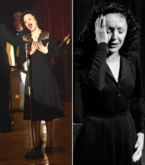 Marion Cotillard  A gyönyörű Marion Cotillard szinte felismerhetetlen Edith Piafként a Piaf című alkotásban, nem véletlen, hogy 2008-ban a sminkesek és Cotillard is Oscart kaptak kiváló munkájukért.