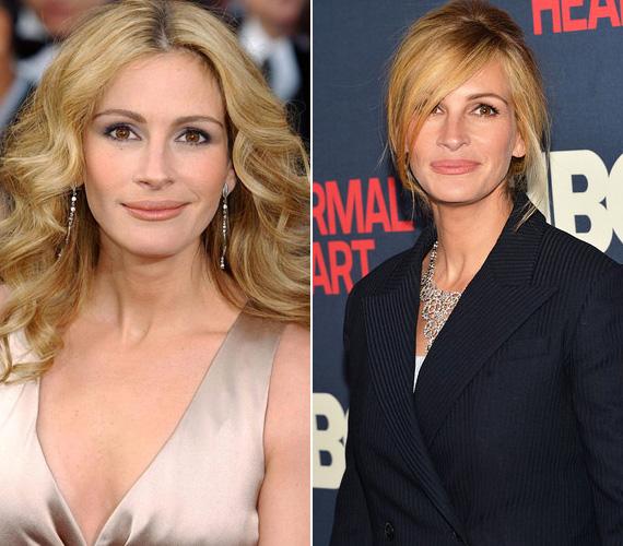 Julia Roberts első fotója 2004-ben készült, míg a másik 2014-ben - ember legyen a talpán, aki lát köztük különbséget. A színésznő jobban néz ki, mint valaha, pedig idén októberben már a 47. születésnapját ünnepli.