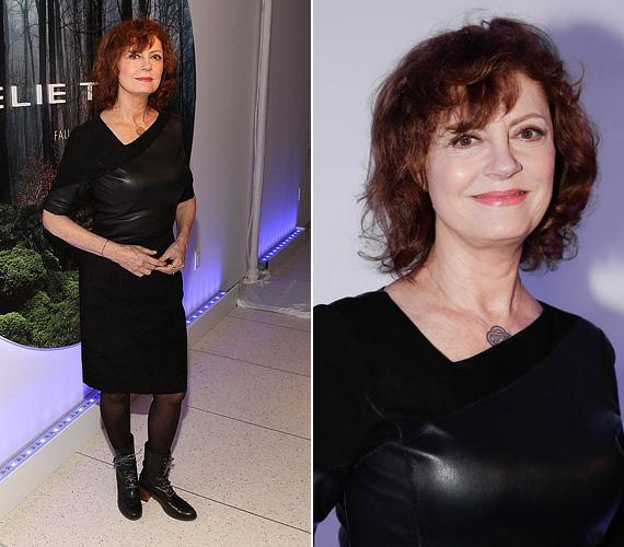 Susan Sarandon fekete harisnyával és egy fűzős bőrbakanccsal egészítette ki az öltözékét Elie Tahari bemutatóján.
