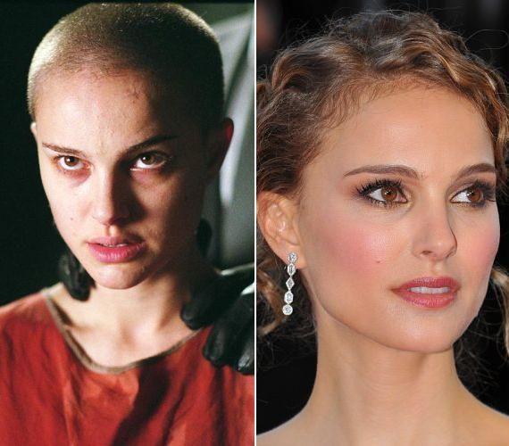 Natalie Portman színésznőt teljesen kopaszon láthatjuk a V, mint vérbosszú című filmben.