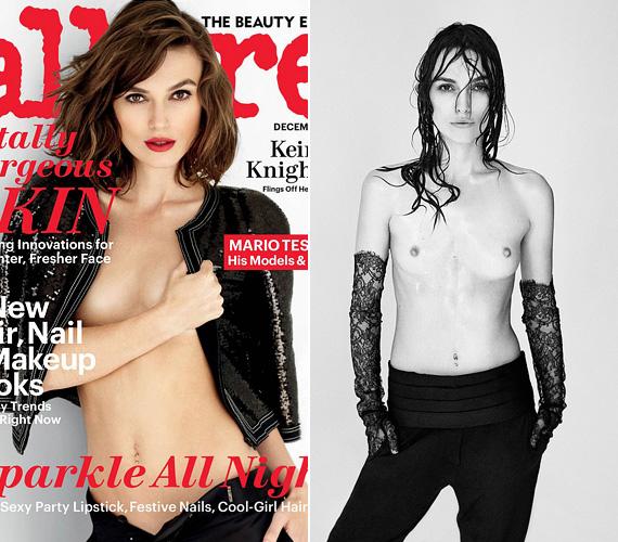 """Keira Knightley korábban az Allure címlapján is melltartó nélkül pózolt, de az Interview magazinhoz készült fotó ennél is bevállalósabb. """"Olyan sokszor manipulálták már a fotóimat, a lesifotókat és a posztereimet is, hogy azt mondtam, elég"""", válaszolta a 29 éves angol színésznő arra a kérdésre, miért vetkőzött le a lapnak."""