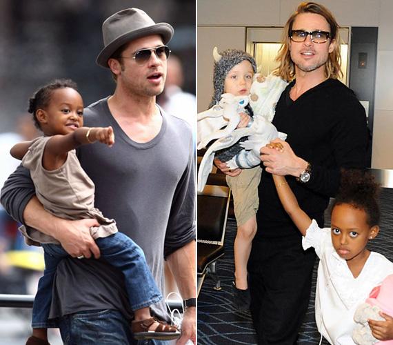 Brad Pitt két kezében és nyakában sem fér el az összes gyerkőc, akiket feleségével, Angelina Jolie-val nevelget. A három közös és három örökbefogadott gyerkőc - Maddox tizenhárom, Pax tíz-, Zahara kilenc-, Shiloh nyolcesztendős, Vivienne és Knox pedig hatévesek - közül azonban valaki mindig ott van a karján, ha megy valahová a népes család. Az 50 éves színésznek jót tett az apaság, gyerkőcöt hurcibálva is igazán szexi még mindig.