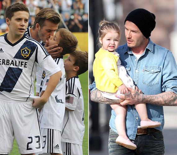David Beckham is remek apukának tűnik - az angol focistának és feleségének, Victoria Beckhamnek három fia és egy kislánya van, a kicsi Harper és papája között láthatóan nagy a szerelem, rendkívül cuki fotók készültek már róluk. Brooklyn, a legidősebb fiú már 15 éves, öccsei a 12 éves Romeo és a kilencéves Cruz.
