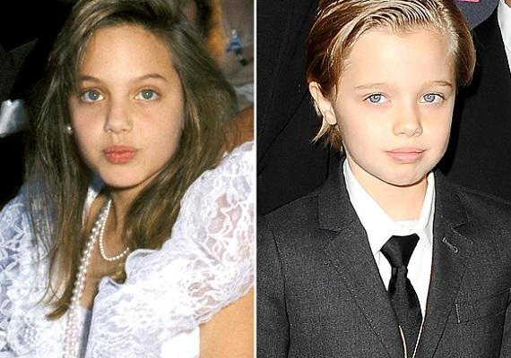 Angelina és ShilohA Jolie-Pitt álompár sok gyereke közül az első vér szerinti lány, Shiloh arca és anyukája gyerekkori fotója döbbenetes hasonlóságot mutat. Még nem lehet tudni, hogy Shiloh milyen pályát választ, de öntörvényűségében már most mutatkoznak a színésznő génjei; a kislány többnyire fiús szerkóban érzi jól magát.