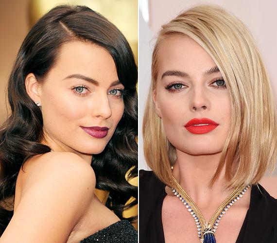 Margot Robbie, a Wall Street farkasa és a Focus - A látszat csal sztárja a tavalyi Oscaron sötétbarna fürtökkel lépett a vörös szőnyegre, alig ismertünk rá a 2014-es fotón. Az ausztrál színésznő azóta már szőke, a bob fazonnal pedig az idei Oscaron debütált.