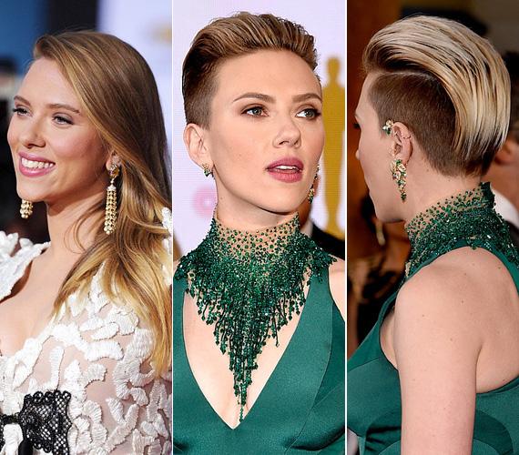 Scarlett Johansson feltűnő jelenség volt az Oscaron zöld ruhájában és egyedi frizurájával. Az biztos, hogy idő kell, míg az ember hozzászokik a látványhoz.