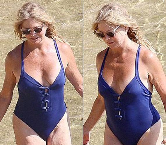 A 69 éves Goldie Hawn idén júniusban pancsolt ebben a kék fürdőruhában, megmutatva, hogy ebben a korban sem kell a hölgyeknek elrejteniük alakjukat.