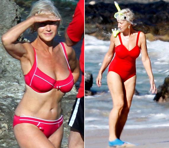 A bal oldalon látható, mára nagyon híressé vált bikinis fotón Helen Mirren szerepel, aki július 26-án tölti be a 70. életévét. A kép 2008-ban készült, a gyönyörű színésznő akkor 63 éves volt. Azóta is sok nő hangoztatja világszerte: reméli, hogy a hatvanas éveiben olyan alakja lesz, mint neki.
