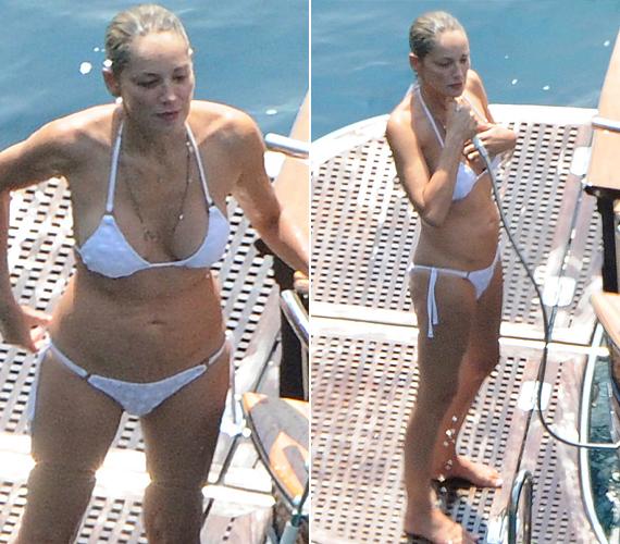 Az Elemi ösztön, Az emlékmás és a Gyorsabb a halálnál című filmek szőke sztárjáról még 2013-ban készültek ezek a bikinis lesifotók. A képeken jól látszik, a színésznő alakja a mai napig hibátlan.