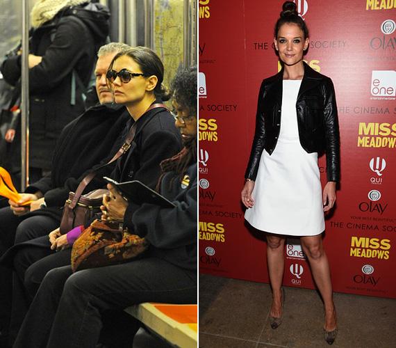 Katie Holmes öltözködésben is szereti a lazaságot, tőle nem meglepő, hogy a metrón látni. Ez a fotó tavaly áprilisban készült róla, amint éppen elgondolkodva bámul maga elé. A 35 éves színésznő akkoriban a Broadwayre járt meghallgatásokra.