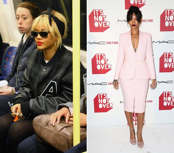 Rihanna Londonban gyakran pattan fel a metróra, ez a fotó akkor készült, amikor a BRIT Awards meghallgatására ment, de előfordult, hogy a saját koncertjére is metróval érkezett az O2 stadionba.