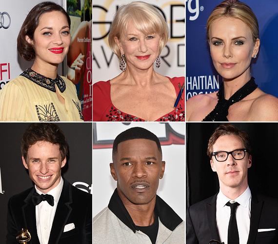 Marion Cotillard, Helen Mirren, Charlize Theron, Eddie Redmayne, Jamie Foxx, Benedict Cumberbatch: hat sztár, akik valós személy bőrébe bújtak egy-egy filmszerep kedvéért, és alakításukkal megkapták vagy esélyesek az Oscarra. Nézd meg őket, mennyire átalakultak a filmekben! A páros képek bal oldalán a valós személy, jobb oldalon pedig az őt játszó színész látható.