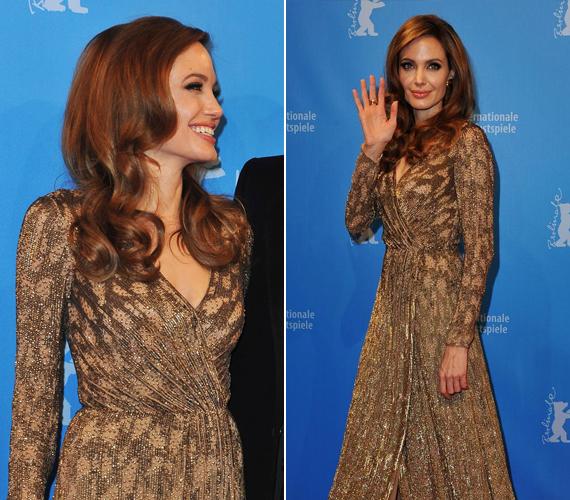 A 39 éves Angelina Jolie 2012-ben a saját maga által rendezett film, A vér és a méz földjén berlini premierjén viselte ezt a kígyóbőrre hajazó estélyit.