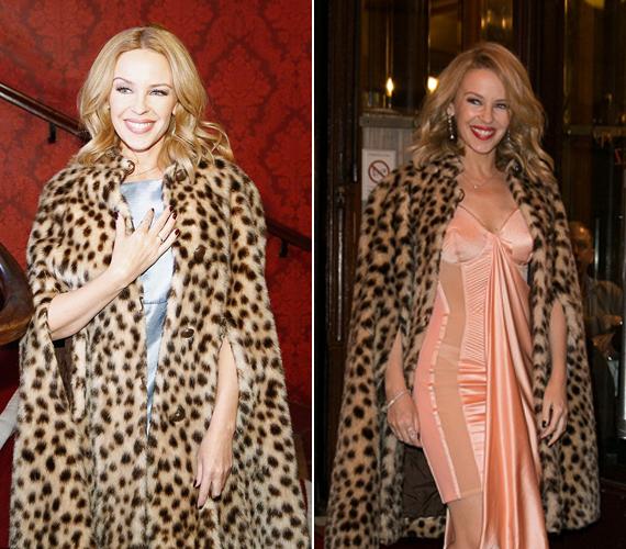 A pöttöm ausztrál énekesnő hétfő este kapta magára leopárdmintás kabátját egy párizsi sétája alkalmával. Ez alatt egy babakék selyemruhát viselt, amitől az összhatás elegáns, mégis izgalmas maradt. Ezt a trükköt már máskor is bevetette, egy nappal korábban lazacrózsaszín ruhát vett a kabát alá.