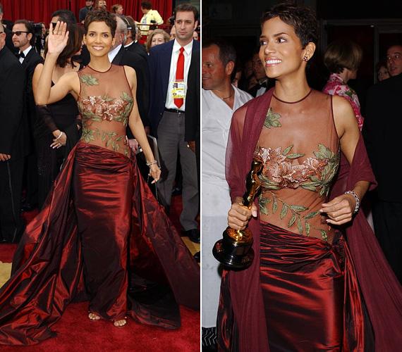 Halle Berry még 2002-ben, 36 éves korában vállalta be ezt a borvörös Eli Saab ruhát - nem csoda, ha utána napokig mindenki róla beszélt. Már csak annak apropóján is, hogy élete első Oscar-díját is megnyerte a Szörnyek keringője című film főszerepének eljátszásáért.