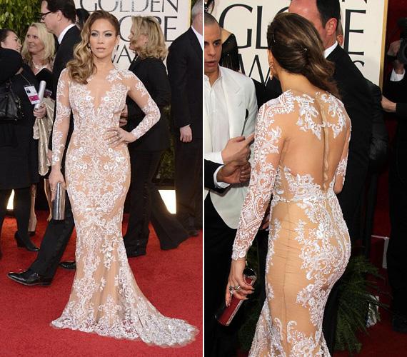 Jennifer Lopez is szereti a merész öltözéket, mint ahogy ezt ez a hófehér Zuhair Murad csipkeruha is bizonyítja. A 44 éves színésznő a 2013-as Golden Globe-on viselte a vörös szőnyegen.