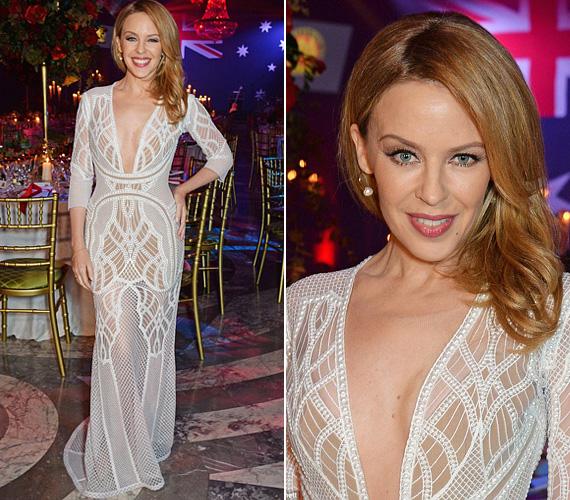 A 46 éves Kylie Minogue a maga 152 centijévl is kitűnt a tömegből január végén, amikor a gyöngyökkel kirakott J'Aton Couture estélyiben megjelent Londonban az Ausztrália-nap gálavacsoráján.