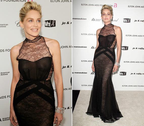 Sharon Stone még a többiekénél is bevállalósabb volt, bár tőle ezt szinte megszoktuk. 2009-ben az Elton John Alapítvány Oscar-partiján viselte ezt a Christian Dior darabot, ami egy kissé többet láttatott az akkor 50 éves színésznő kebleiből, mint illett volna.