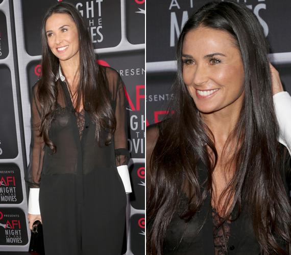 Demi Moore 2013 tavaszán, az Amerikai Filmintézet gáláján bújt ebbe a fekete, átlátszó darabba. Az 50 éves színésznő melltartó nélkül jelent meg a vörös szőnyegen, nem véletlenül volt a fotósok kedvence.