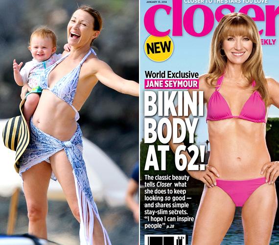 Jane Seymour tavaly januárban pózolt a Closer magazinnak, és rögtön meggyanúsították, hogy erősen fogott a retus a fotójánál. Ám pár nappal később az akkor 62 éves brit színésznőt Hawaii strandján kapták le, a kétkedők pedig láthatták, a valóságban is olyan karcsú, mint a képen.