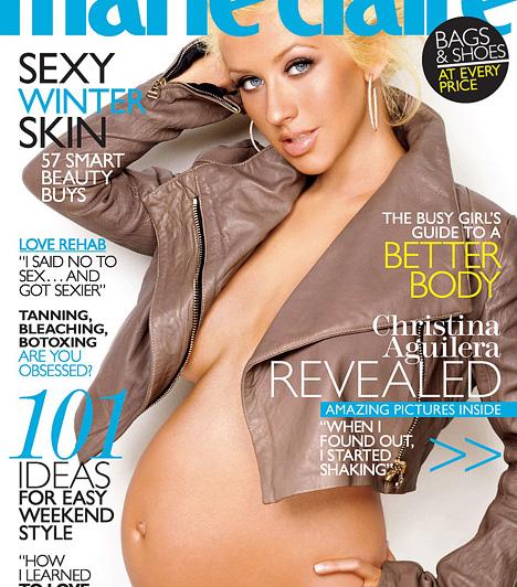 Christina Aguilera  Demi Moore ikonikus terhespocakos címlapja óta nem egy sztár mutatta meg magát várandósan, fedetlen babapocakkal egy-egy magazin borítóján. Egyebek közt Christina Aguilera is, aki 2008 januárjában mutatta meg magát a Marie Claire címlapján - Max Lyron Bratman végül 2008. január 12-én született meg.