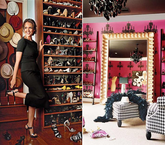 A szexis Jessica Alba cipőkollekciójára a legbüszkébb, a tinibálvány Miley Cyrus kedvenc helyisége pedig óriási, pink színben pompázó, tükrös öltözőszobája.