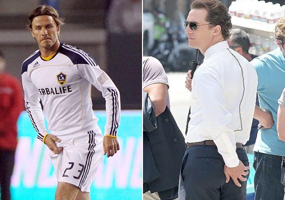 A férfiak körében bevett szokás önmaguk vakargatása nyilvános helyeken is. David Beckham elölről, míg Matthew McConaughey hátulról markolta meg magát.