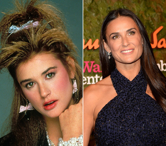 Az 52 éves Demi Moore huszonéves korából való ez a fotó - bár az arcán látszik, mennyire fiatal, a kreppelt haj, amit ráadásul pálmafa-stílusban tornyozott a feje tetejére, a masnis fülbevaló és a gyöngysor a nyakában és a csuklóján meglehetősen giccses hatást keltenek. A színésznőnek egyébként akkor kezdett belendülni a karrierje, az 1985-ös Szent Elmo tüzében szerencsére sokkal természetesebb önmagát adta, legalábbis a külsőt illetően.