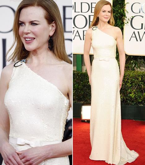 Nicole KidmanA 2011-es Golden Globe-gála egyik legkáprázatosabb ruhája minden bizonnyal Nicole Kidmané volt. A földig érő, fehér Prada-estélyi remekül kiemelte az ausztrál színésznő karcsú, törékeny alakját.Kapcsolódó cikk:Ezt látnod kell! Nicole Kidman végre megmutatta 5 hónapos kislányát »