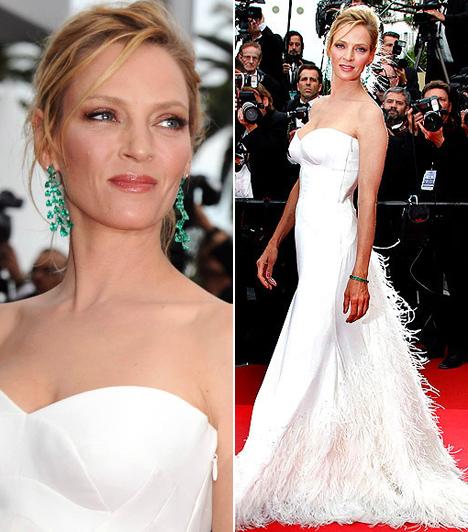 Uma Thurman  A karcsú Uma Thurman zsűritagként kapott meghívást a 2011-es Cannes-i Filmfesztiválra. A 41 éves színésznő több ruhát is felvonultatott a tengerparti filmszemlén, de a legszebb ebben a földet söprő, hófehér Versace-estélyiben volt.  Kapcsolódó galéria: A 64. cannes-i filmfesztivál legdögösebb sztárjai »