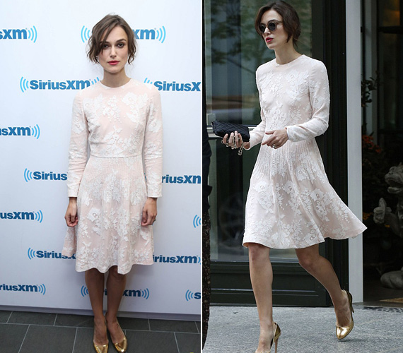 Keira Knightley a New York-i SiriusXM rádió stúdiójába látogatott el június 27-én, pénteken, amikor ezt a klasszikus, csipkékkel díszített fehér ruhát viselte. Még ugyanazon a napon a Today show-ban is szerepelt, ahol a 29 éves színésznő a Szerelemre hangszerelve című legújabb filmjét promotálta - nálunk július 24-én mutatják be a mozik.