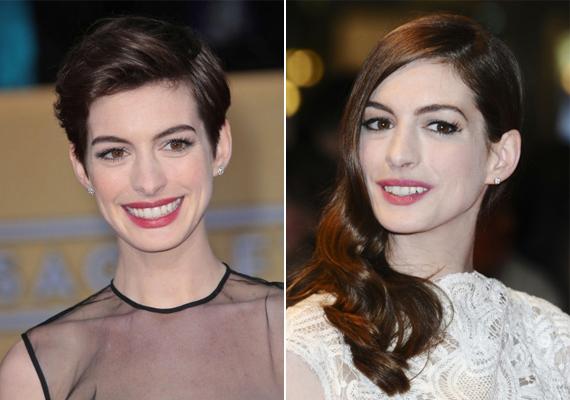 A 32 éves Anne Hathaway, amikor a világ megismerte az arcát, még a jobb oldalon látható hosszú, barna tincseket viselte, később azonban rövidre váltott. Azóta is gyakran emlegetik jelenlegi frizuráját.