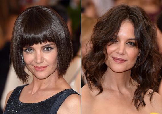 A 36 éves Katie Holmes szinte sugárzik, amióta nem Tom Cruise felesége, az utóbbi években egyre szexibb lett. Hosszú frizuráját azonban csak látszólag vágatta le, mindenkit becsapott, amikor az idei Met-gálára ebben a rövid parókában érkezett.