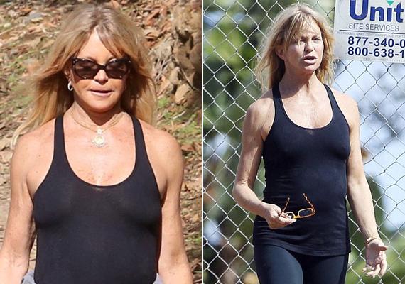 Goldie Hawn legközelebb kétszer is átgondolja, hogy vegyen-e sportmelltartót, nem éppen előnyös fotókat készítettek róla a paparazzók.