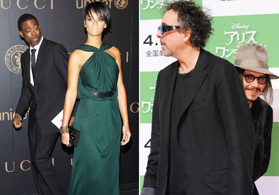 Chris Rock Rihanna fenekét bámulta, mikor lekapták, Johnny Depp és Tim Burton képén viszont nem tudni, ki kit viccelt meg igazából.