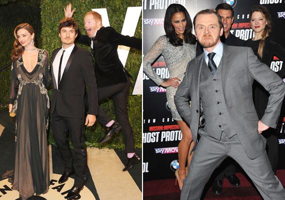 Simon Pegg Tom Cruise villogását hiúsította meg, Jesse Tyler Ferguson pedig Orlando Bloom és Miranda Kerr fotójába ugrált be.