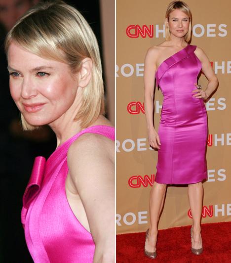 Renée Zellweger  A Bridget Jones sztárjáról sokan hiányolják a formás párnácskákat, ő azonban úgy tűnik, inkább karcsún érzi jól magát a bőrében. Fogyása óta szívesen visel testhez álló, különleges szabású és színű ruhákat, ahogy tette ezt a CNN Heroes: An All-Star Tribute rendezvényén is. A filigrán sztár a gálán egy pink Carolina Herrera szaténruhában hódított.  Kapcsolódó cikk: Már ő is kezdi? Renée Zellweger zavarba ejtően sokat mutatott magából »
