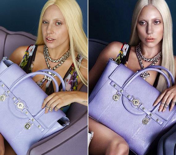Lady Gagával a Versace készített reklámfotókat a 2014 tavaszi kampányához. Persze a retusálatlan fotók itt is kiszivárogtak az internetre, amelyeken az énekesnő közel sem olyan babaarcú, mint a végleges fotókon.