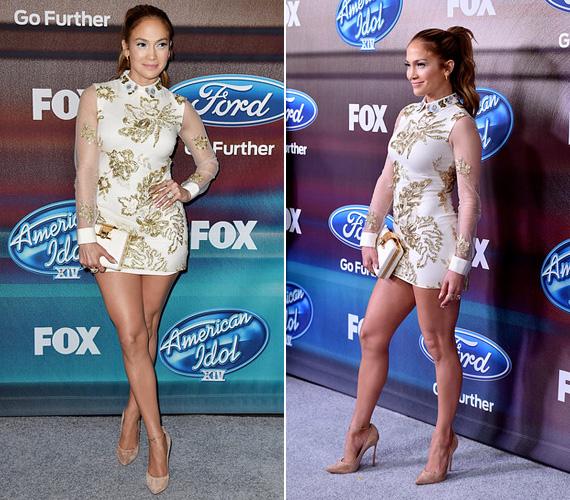 Jennifer Lopez március 11-én jelent meg ebben a hosszú ujjú, ám zavarbaejtően rövid Marchesa dresszben az American Idol döntőjét követő partin Los Angelesben. Az biztos, hogy nem sokan merték volna felhúzni a miniruhát, de a 45 éves sztár mindig is merész választásairól volt híres.