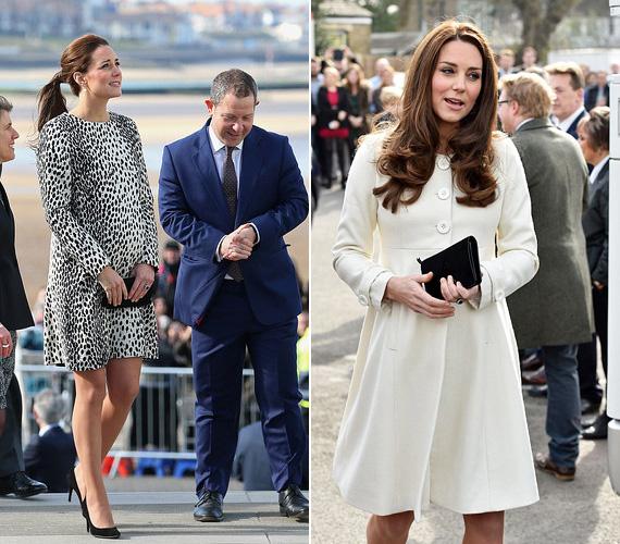 A nyolc hónapos terhes Katalin hercegnő múlt héten több rendezvényen is részt vett. A párducmintás ruha a Turner galériába látogatásakor volt rajta szerdán, míg a hófehér JoJo Maman Bebe kabátot csütörtökön viselte, amikor felkereste a Downton Abbey forgatási helyszínét Londonban.