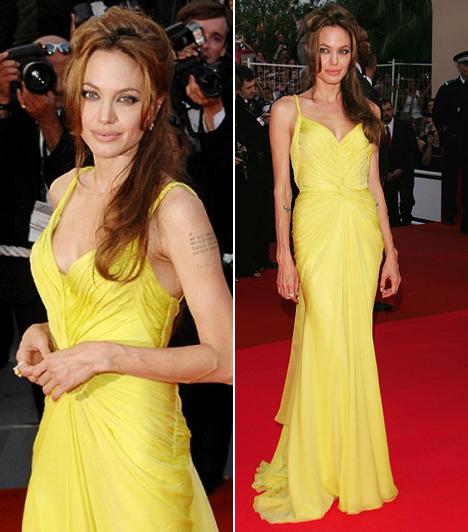 Angelina Jolie  A hatgyermekes filmsztár karcsú alakján a legtöbb ruha mesésen mutat, ahogy ez az Emanuel Ungaro-kreáció is. Jolie az Ocean's Thirteen - A játszma folytatódik bemutatóján viselte ezt a napsárga selyemcsodát, a 60. Cannes-i Filmfesztivál vörös szőnyegére kedvesével, Bratt Pittel érkezett.  Kapcsolódó cikk: Mindenki őt nézte! Angelina Jolie igézően festett vörös estélyi ruhájában »