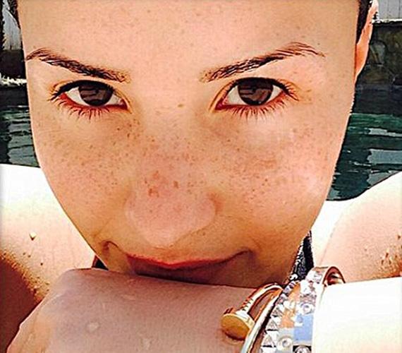 """Demi Lovato énekesnő és az amerikai X-Factor egyik korábbi mentora szintén smink nélküli szelfit posztolt a minap, """"Szeplők"""" címmel."""
