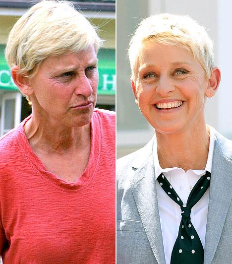 Ellen DeGeneres  A műsorvezetőt vásárlás közben kapták le smink nélkül Kaliforniában. Kapcsolódó cikk: A kép, ami miatt lefagyott a Twitter - Fotókon az Oscar-gála legviccesebb pillanatai »