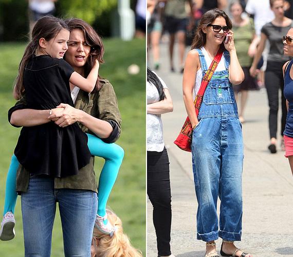 Katie Holmest legtöbbször a kislányával, Surival kapják le, de nemrégiben egyedül kószált Manhattanben, és jókedvűen cseverészett pink telefonján egy kényelmes kertésznadrágban.