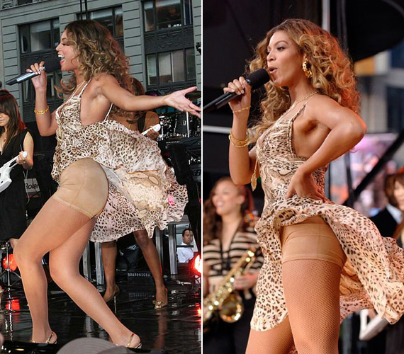 """Beyoncé is elismerte már egy 2010-es interjúban, hogy nem csak a vörös szőnyegen, hanem a színpadon is gyakran hord Spanx nadrágot, hogy """"a helyükön tartsa a dolgokat"""". 2006-ban a Good Morning, America reggeli show-ban mindezt a közönségnek is megmutatta, amikor a szél felfújta a szoknyáját."""