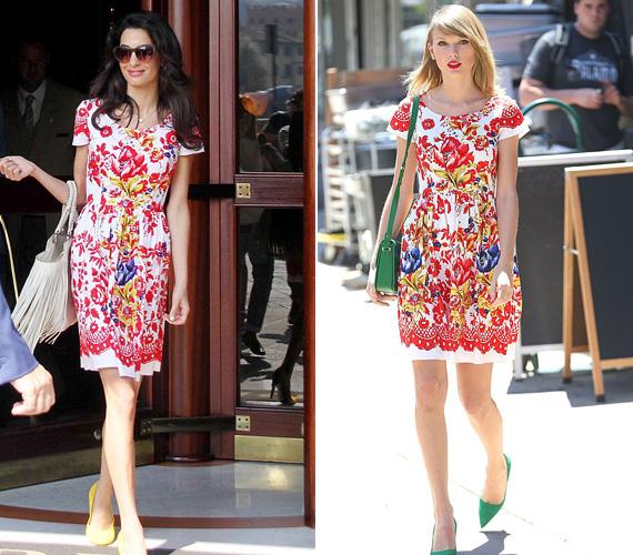 George Clooney felesége, Amal és Taylor Swift is hasonló ízlésről tett tanúbizonyságot: mind a kettejükről készült fotó egy ugyanolyan színes Oscar de la Renta ruhában, amit Amal sárga, Taylor pedig zöld cipővel párosított.